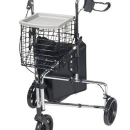 Drive Medical :: Deluxe 3-Wheel Steel Rollator w/Loop Locks  Chrome  Drive