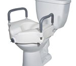 Elevated Toilet Seat with Lock and Tool-Free Removable Arms - 