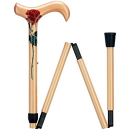 Image of Ladie's Red Rose Folding Cane 2
