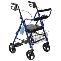 Roscoe Medical :: Combination Blue Rollator & Transport Wheelchair