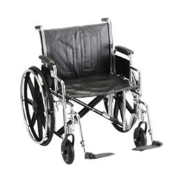"Nova Medical Products :: 22"" STEEL WHEELCHAIR WITH DETACHABLE ARMS AND FOOTRESTS"